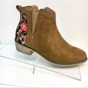 Last Few! Floral Ankle Boot Embroidered Camel